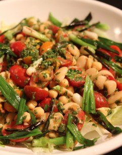 Mixed Chimichurri Salad with Beans, Cherry Tomatoes, Green Onions and Lettuce