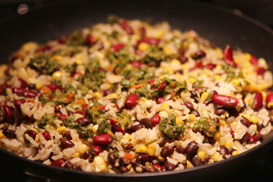 Chimichurri Beans and Rice with Corn | BaconFatte.com