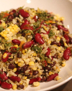 Rice and Beans with Corn and Chimichurri recipe