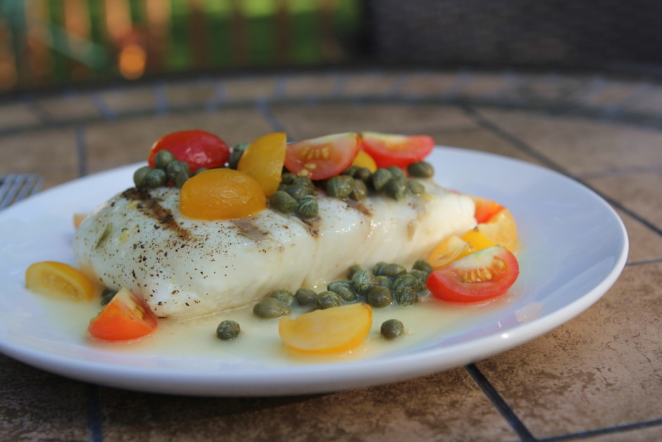 Grilled Halibut with Caper Butter, Tomatoes and Lime | BaconFatte.com