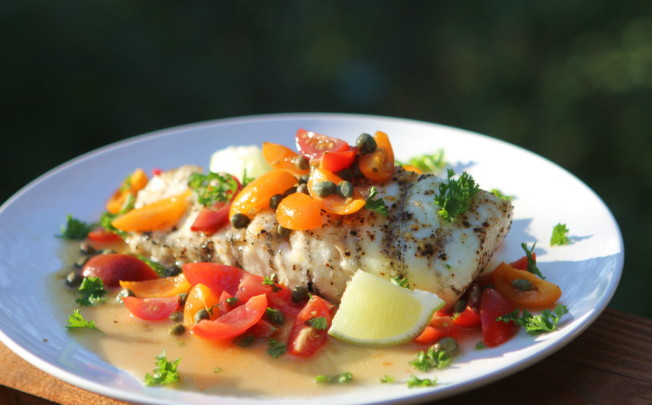 Grilled Halibut with Caper Butter, Tomatoes and Lime