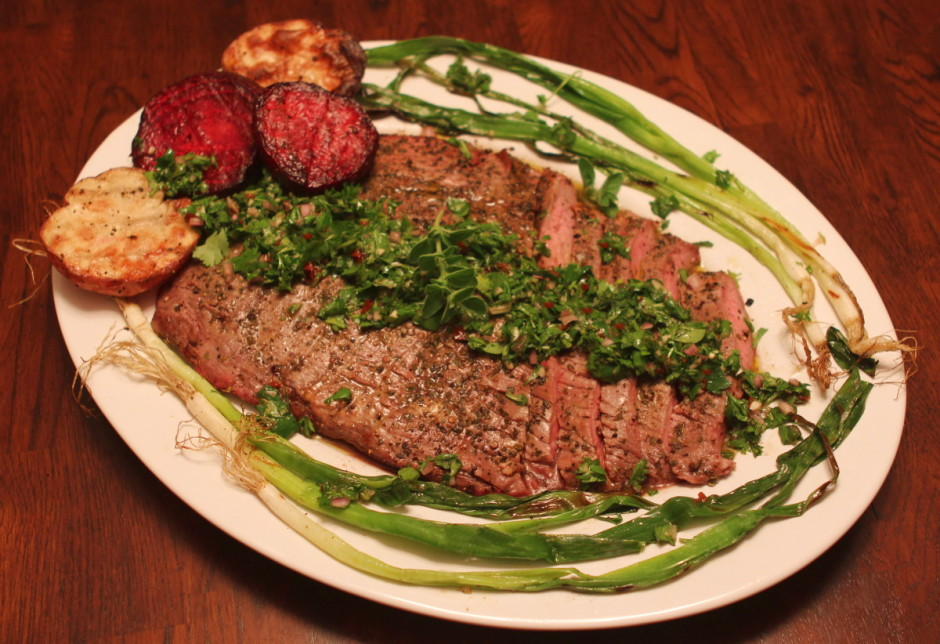 Grilled Flank Steak and Vegetables with Chimichurri Sauce| BaconFatte.com