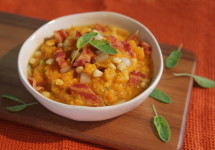 Signature Butternut Corn Chowder with Sage and Bacon | BaconFatte.com