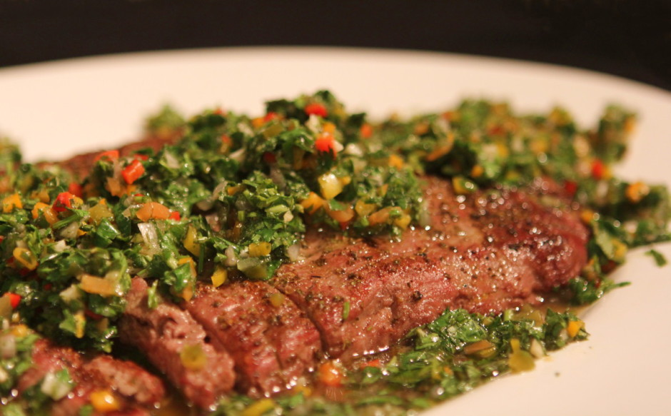 Grilled Flank Steak with Giardiniera Chimichurri Sauce | BaconFatte.com