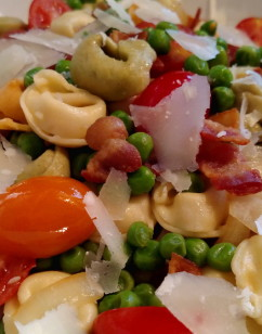 Tortellini with Sautéed Vegetables, Bacon and Parmesan