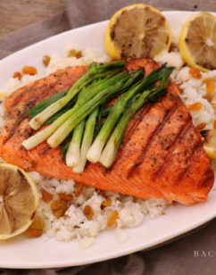 Grilled Salmon with Lemons and Scallions