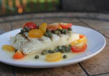 Grilled Halibut with Cherry Tomatoes and Caper Butter | BaconFatte.com