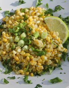 Corn Sauté with Fresh Ginger, Garlic and Cilantro