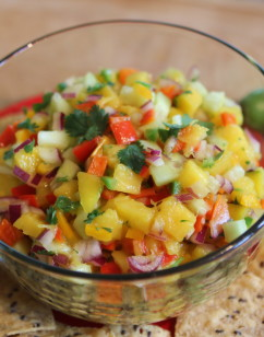 Mango, Cucumber and 3-Pepper Salsa