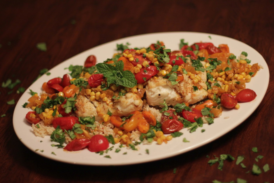 Grilled Halibut with Corn-Coconut Curry Sauce and Cherry Tomatoes | BaconFatte.com