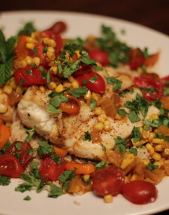 Grilled Halibut with Corn Coconut Curry Sauce and Cherry Tomatoes