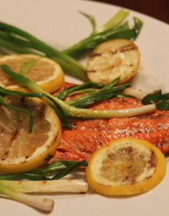 Salmon with Lemons and Scallions