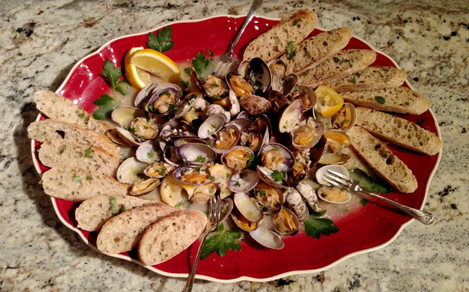 how to cook clams with wine