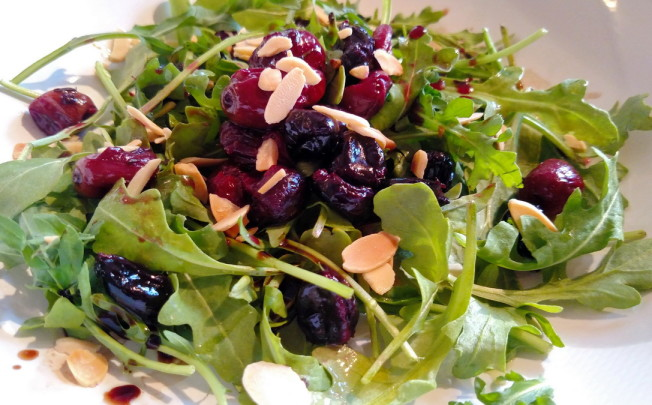 Roasted Balsamic Grape and Arugula Salad with Almonds and Feta