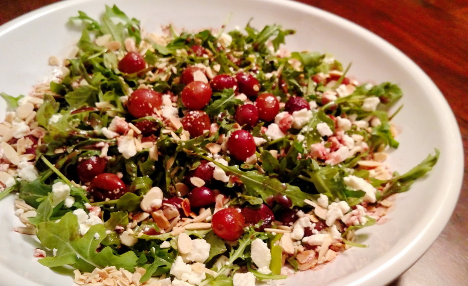 Roasted Balsamic Grape and Arugula Salad with Almonds and Feta| BaconFatte.com