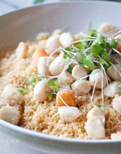 Petite Bay Scallops with Simple White Wine Sauce