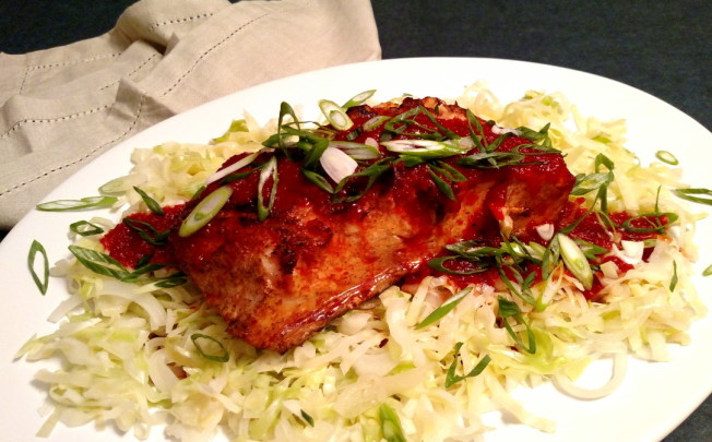 "Grilled Fish with Sweet Roasted Red Pepper Puree and Sauteed Cabbage ""Noodles"""