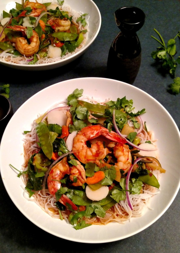 Spicy Red Chili Shrimp Sauté with Asian Veg and Rice Noodles recipe from BaconFatte.com