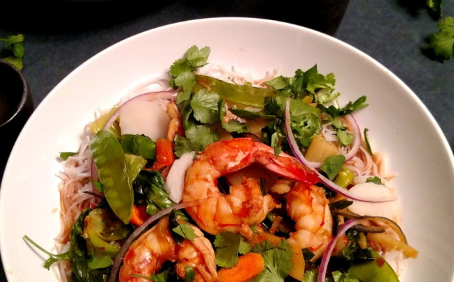 Spicy Red Chili Shrimp Sauté with Asian Veg and Rice Noodles