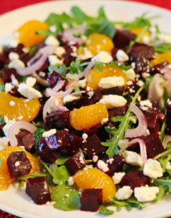Roasted Beet Salad with Mandarins, Goat Cheese and Arugula