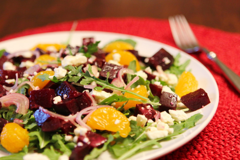 Roasted Beet Salad with Mandarins, Goat Cheese and Arugula #recipe from @BaconFatte BaconFatte.com