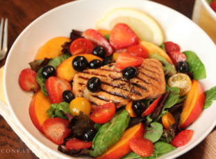 Grilled Salmon with Boozy Fruit Salad
