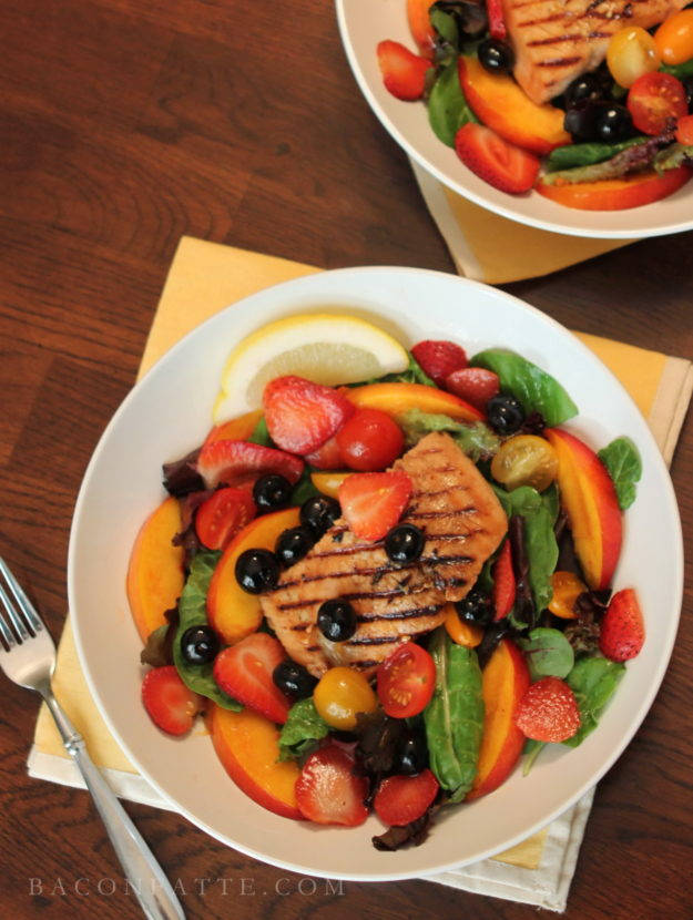 Grilled Salmon with Boozy Fruit Salad | BaconFatte.com