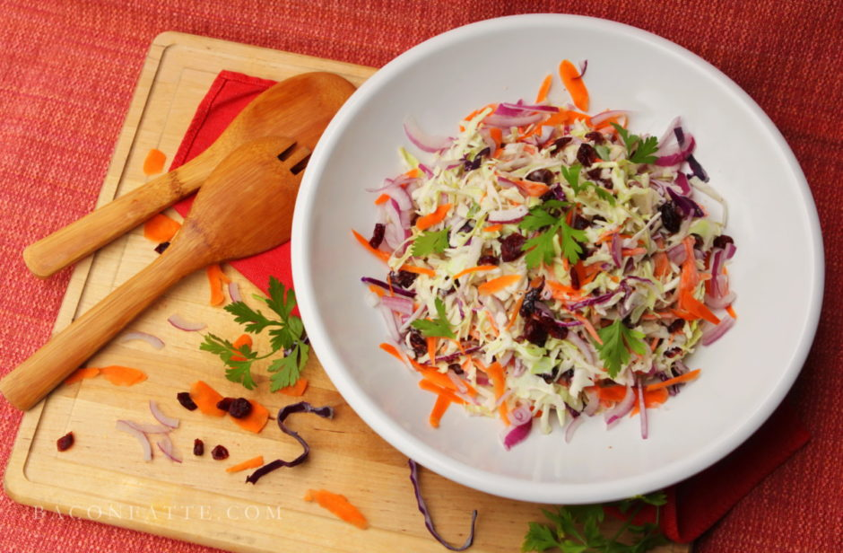Colorful Cranberry Carrot Cole Slaw recipe | BaconFatte.com