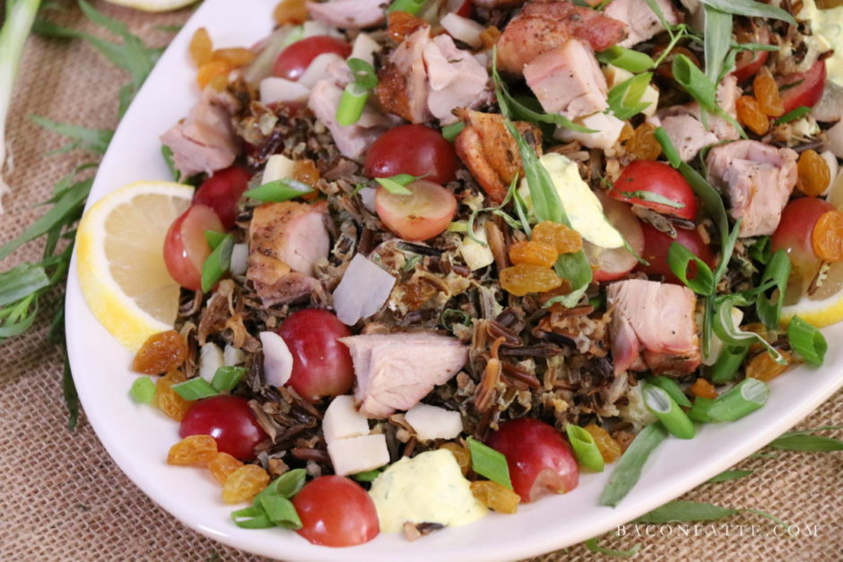 Turkey Wild Rice Salad with Tarragon and Grapes recipe from BaconFatte.com