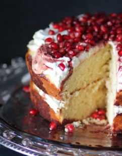 Amaretto Butter Cake with Pomegranate and Cream