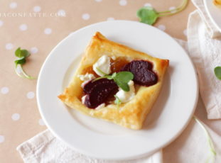 Roasted Beet Tartlettes with Brandy Caramelized Onions and Goat Cheese