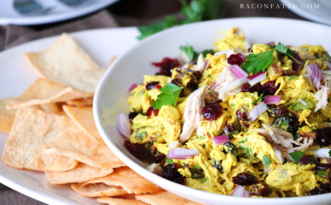 Sweet Spicy Curry Chicken Salad with Cranberries and Red Onions