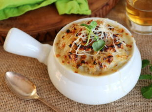 Colcannon Gratin with Whiskey Caramelized Onions and Melted Dubliner