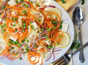 Lemon Fettuccine with Carrot 'Noodles,' Spring Peas and Feta