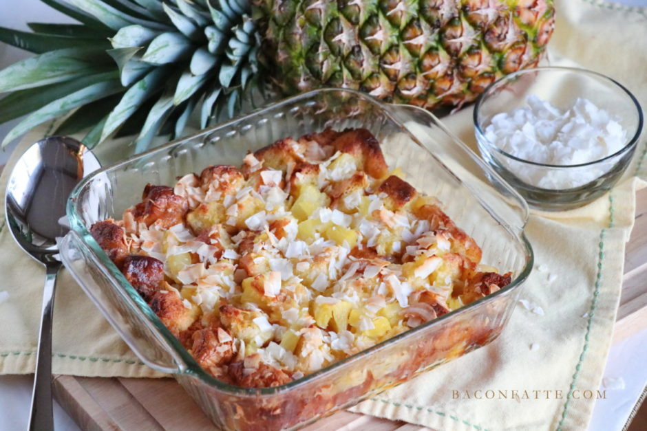 Pineapple Coconut Bread Pudding recipe from BaconFatte.com