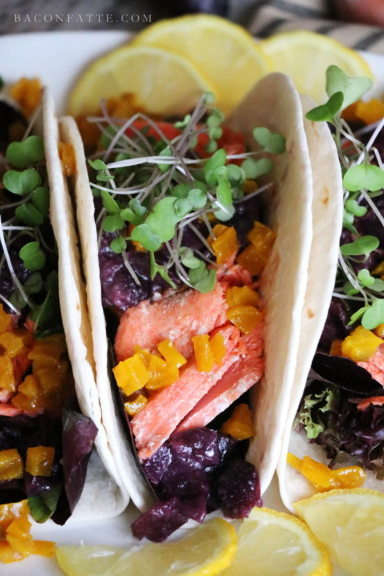 Roasted Salmon Tacos with Golden Beets and Black Grape Sauce recipe from BaconFatte.com