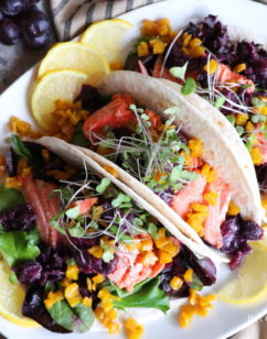 Roasted Salmon Tacos with Golden Beets and Black Grape Sauce