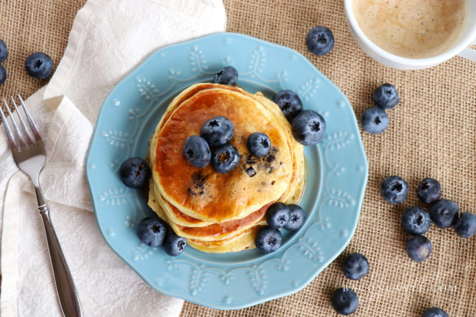 Blueberry Vanilla Bean Yogurt Pancakes recipe from BaconFatte.com