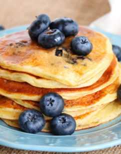 Blueberry Vanilla Bean Yogurt Pancakes