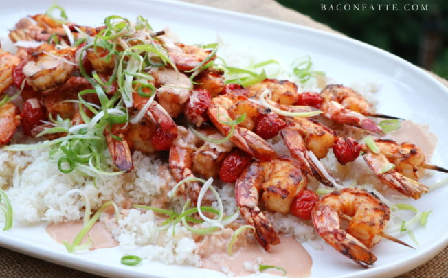 Grilled Shrimp Skewers with Marie Rose Sauce
