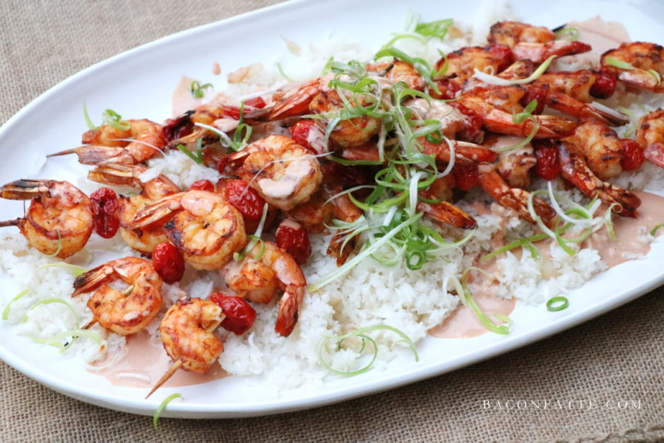 Grilled Shrimp Skewers with Marie Rose Sauce recipe from BaconFatte.com