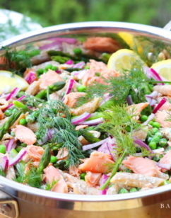 Smoked Salmon Pasta Salad with Asparagus, Peas and Dill