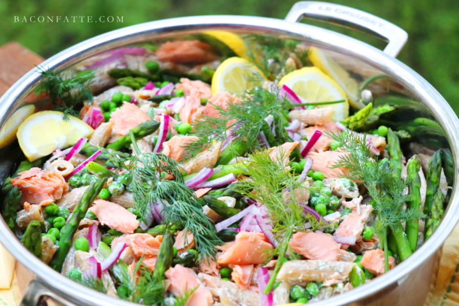 Smoked Salmon Pasta Salad with Asparagus, Peas and Dill recipe from BaconFatte.com