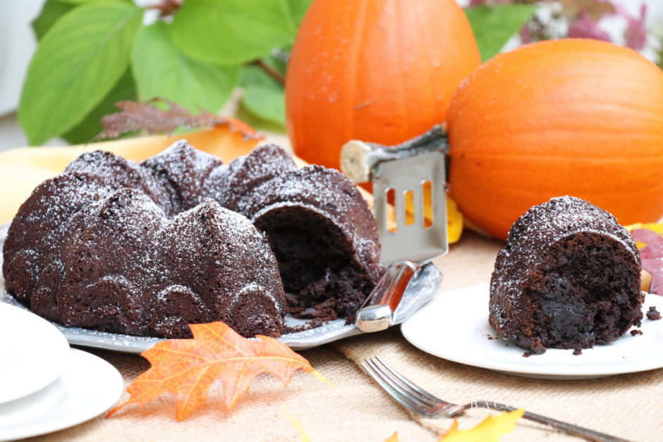 Ridiculously Good Fudgy Dark Chocolate Pumpkin Cake from BaconFatte.com