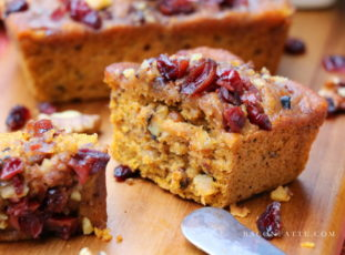 Spiced Pumpkin Mini Cakes with Mulled Cranberries & Brandy Brown Butter Glaze #PumpkinWeek