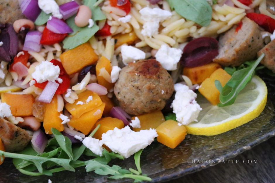 Turkey Meatball Orzo Salad with Veggies recipe from BaconFatte.com
