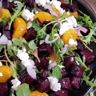 Roasted Beet Salad with Mandarins, Goat Cheese and Arugula
