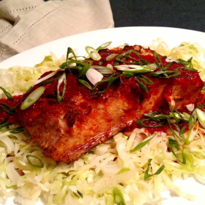 """Grilled Fish with Sweet Roasted Red Pepper Puree and Sauteed Cabbage """"Noodles"""""""