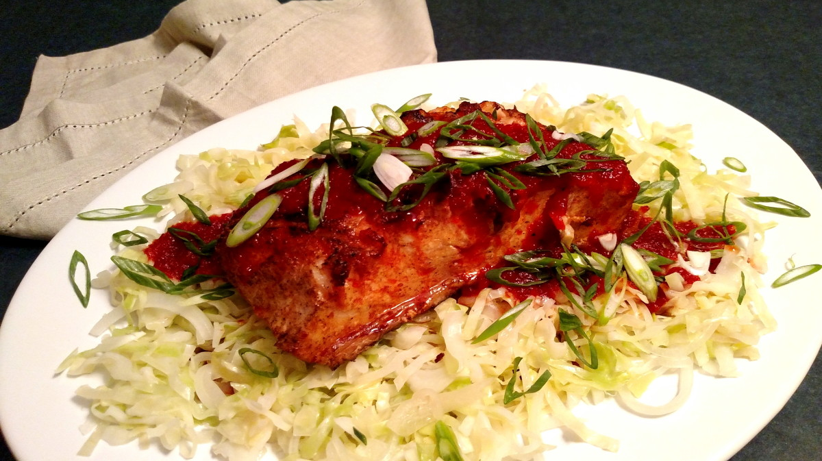 """Grilled Fish with 2-ingredient Roasted Sweet Red Pepper Sauce and Sauteed Cabbage """"Noodles"""" #recipe from @BaconFatte - BaconFatte.com"""