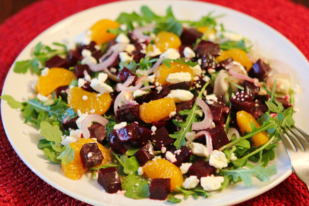 Roasted Beet Salad With Mandarins Goat Cheese And Arugula